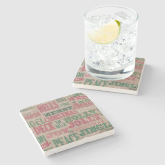 christmas holiday vintage rustic coaster