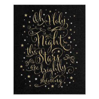 Christmas Holiday Wall Art Faux Gold Calligraphy