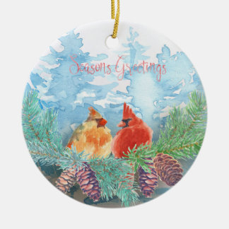 Christmas Holiday - Watercolor Cardinals Trees Christmas Ornament