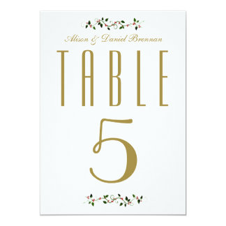 Christmas Holiday Wedding Reception Table Number