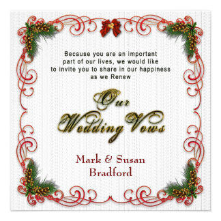 Christmas/Holiday Wedding Renewing Vows Invitation Invite