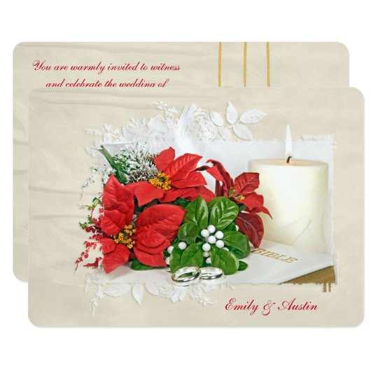 Christmas holiday wedding with rings on Bible Card