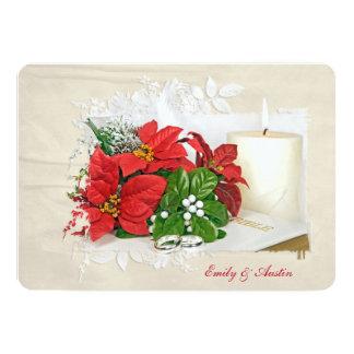 Christmas holiday wedding with rings on Bible Card