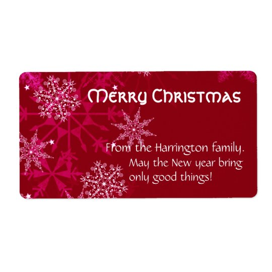 Christmas Holiday Wine Label Red and White