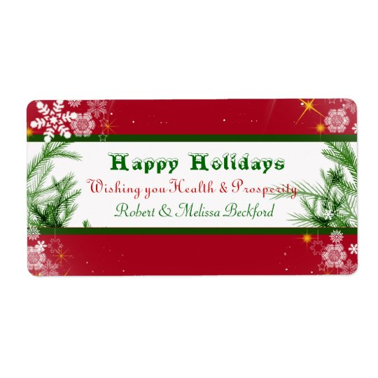 Christmas, Holiday,Wine Label Shipping Label