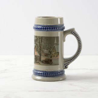 Christmas Holiday Winter Scene Stein. Beer Stein