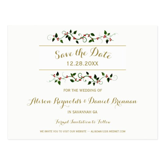 Christmas Holiday Winter Wedding Save the Date Postcard