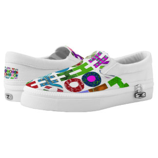 Christmas Holiday word art slip on shoes