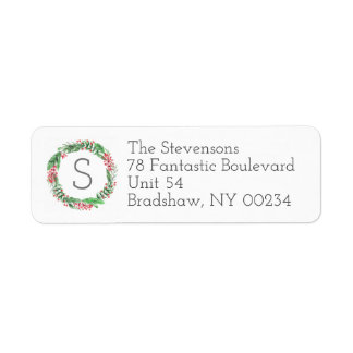 Christmas Holiday Wreath Monogram Family Cards Return Address Label