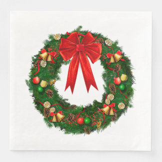 Christmas Holiday Wreath Paper Napkins