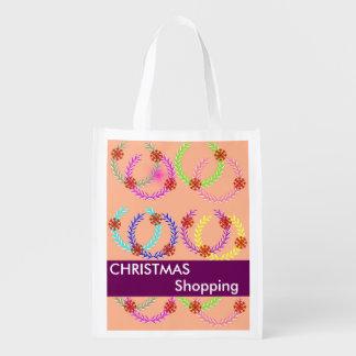 Christmas Holiday Wreath Shopping Reusable Bags Reusable Grocery Bag
