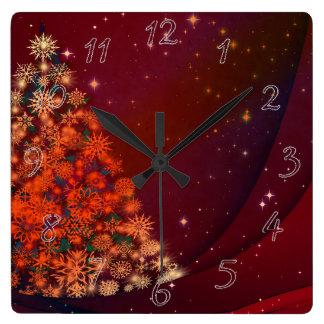 Christmas holidays square wall clock