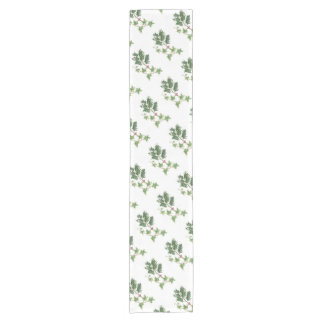 Christmas Holly and Ivy Botanical Watercolour Short Table Runner
