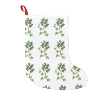Christmas Holly and Ivy Botanical Watercolour Small Christmas Stocking