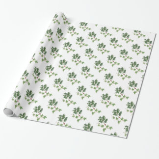 Christmas Holly and Ivy Botanical Watercolour Wrapping Paper