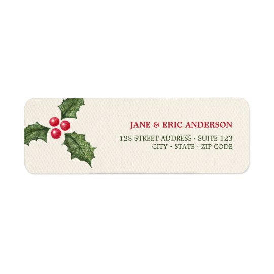 Christmas Holly Berries Address Labels