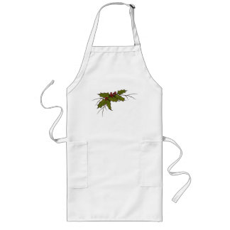 Christmas Holly, Berries, and Twigs, Original Art Long Apron