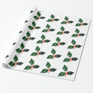 Christmas Holly Berries Wrapping Paper