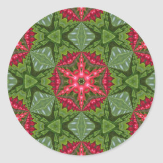 Christmas Holly Berry Kaleidoscopic Mandala 2 Classic Round Sticker