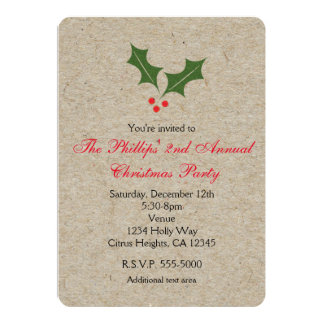 Christmas Holly Berry Kraft Holiday Invitations