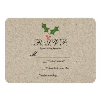 Christmas Holly Berry Kraft Holiday RSVP Card