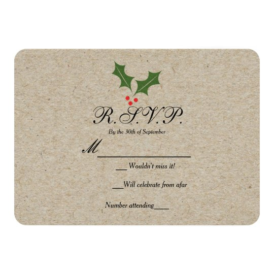 Christmas Holly Berry Kraft Holiday RSVP Card