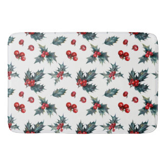 Christmas Holly Berry Patterned Bath Mat