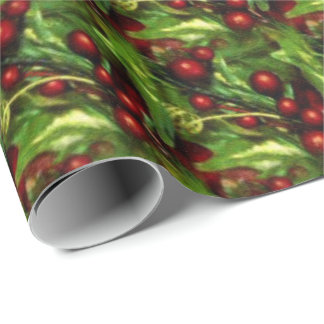 Christmas holly berry wrapping paper
