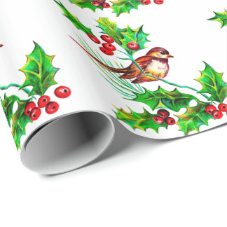 Christmas Holly & Bird II Wrapping Paper