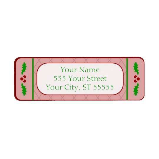 Christmas Holly Borders Address Label