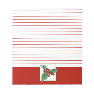 Christmas Holly Botanical Art Red Lined Notepad