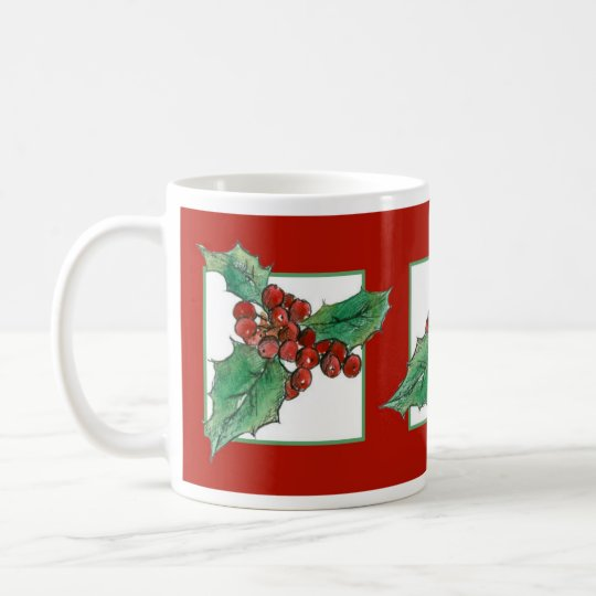 Christmas Holly Botanical Plant Drawing Red Coffee Mug