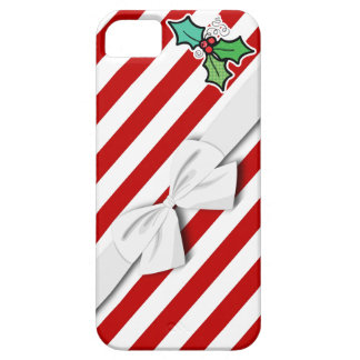 christmas holly candy cane stripes and faux bow case for the iPhone 5