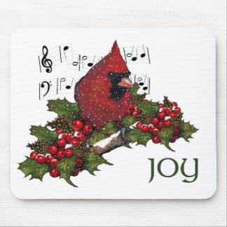 Christmas Holly Cardinal Snow Berries JOY Art Mousepad