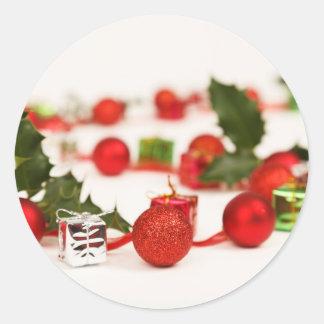Christmas Holly Celebration Garland Round Sticker