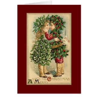 Christmas holly children card