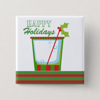 Christmas Holly Cocktail Happy Holidays 15 Cm Square Badge