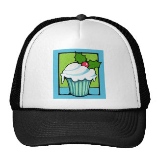 Christmas Holly Cupcake blue Hat