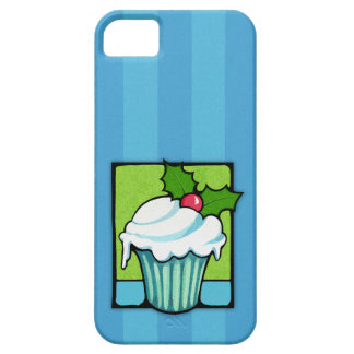 Christmas Holly Cupcake blue iPhone 5 Case