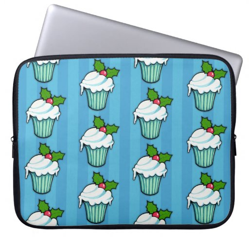 Christmas Holly Cupcake blue Laptop Sleeve
