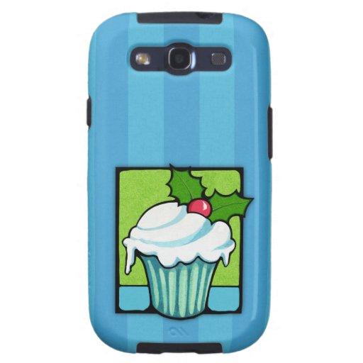 Christmas Holly Cupcake blue Samsung Galaxy Case Galaxy SIII Cover