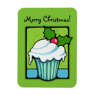 Christmas Holly Cupcake green Flexi Magnet