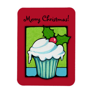 Christmas Holly Cupcake red Flexi Magnet