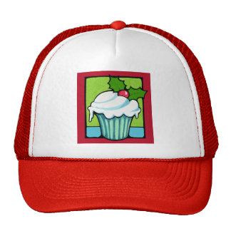 Christmas Holly Cupcake red Hat