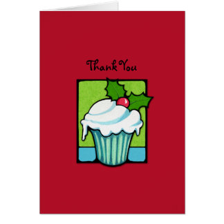 Christmas Holly Cupcake red Thank You Note Card