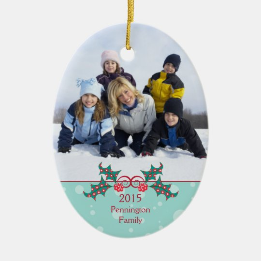 Christmas holly customisable family photo ornament