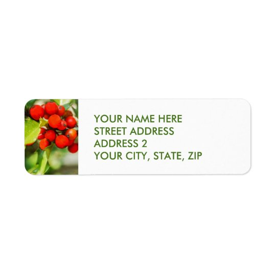 Christmas Holly Four-Line Address Labels