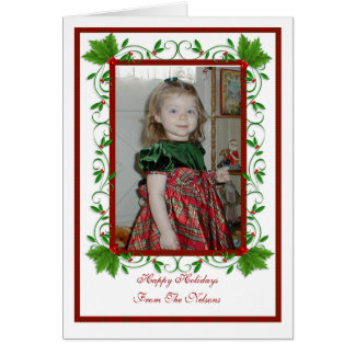 Christmas Holly Frame card with photo