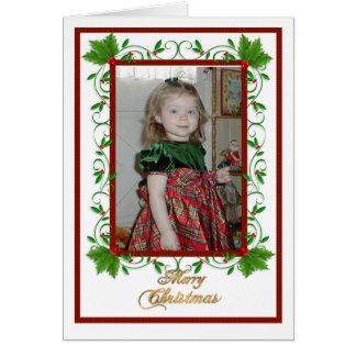 Christmas Holly Frame card with photo