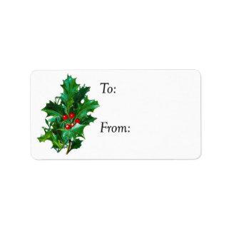 Christmas Holly Gift Tag
